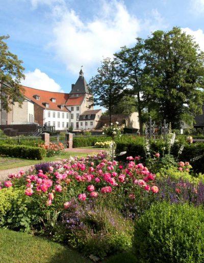 Das Foto zeigt den Rosengarten am Moerser Schloss. Direkt dahinter liegt der Schlosspark mit seinem historischen Baumbestand.